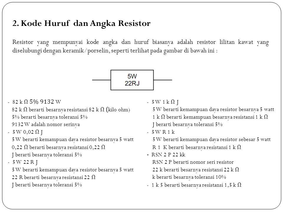 2. Kode Huruf dan Angka Resistor