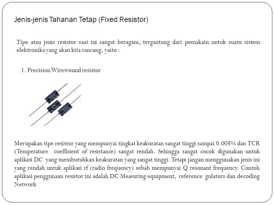 Jenis-jenis Tahanan Tetap (Fixed Resistor)