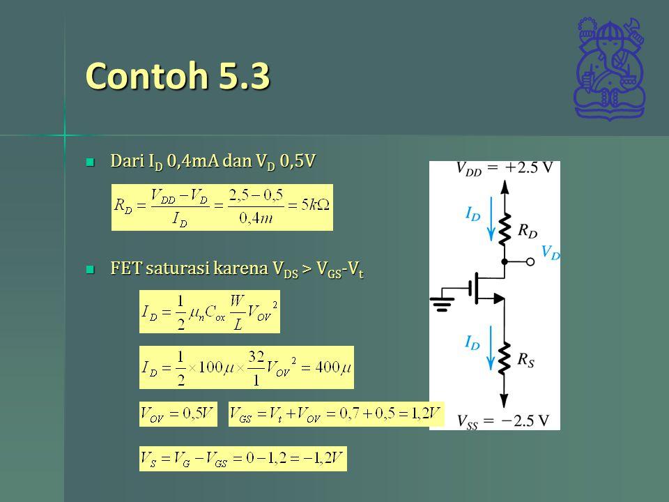 Contoh 5.3 Dari ID 0,4mA dan VD 0,5V