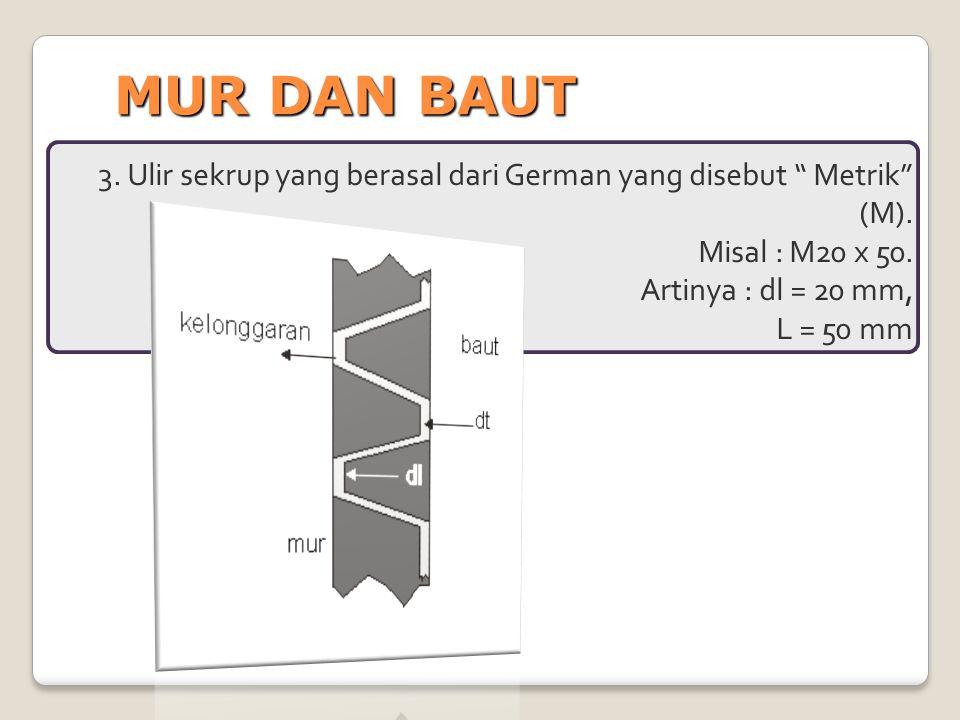 MUR DAN BAUT 3. Ulir sekrup yang berasal dari German yang disebut Metrik (M). Misal : M20 x 50.