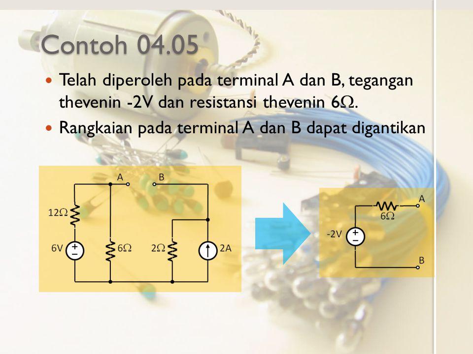 Contoh 04.05 Telah diperoleh pada terminal A dan B, tegangan thevenin -2V dan resistansi thevenin 6W.