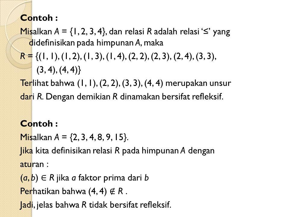 Contoh : Misalkan A = {1, 2, 3, 4}, dan relasi R adalah relasi '≤' yang didefinisikan pada himpunan A, maka R = {(1, 1), (1, 2), (1, 3), (1, 4), (2, 2), (2, 3), (2, 4), (3, 3), (3, 4), (4, 4)} Terlihat bahwa (1, 1), (2, 2), (3, 3), (4, 4) merupakan unsur dari R.