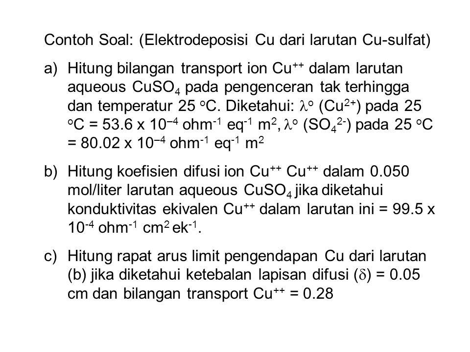 Contoh Soal: (Elektrodeposisi Cu dari larutan Cu-sulfat)