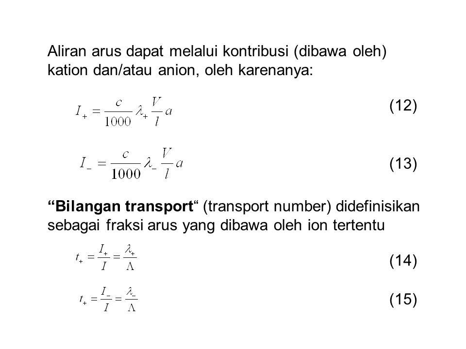Aliran arus dapat melalui kontribusi (dibawa oleh) kation dan/atau anion, oleh karenanya: