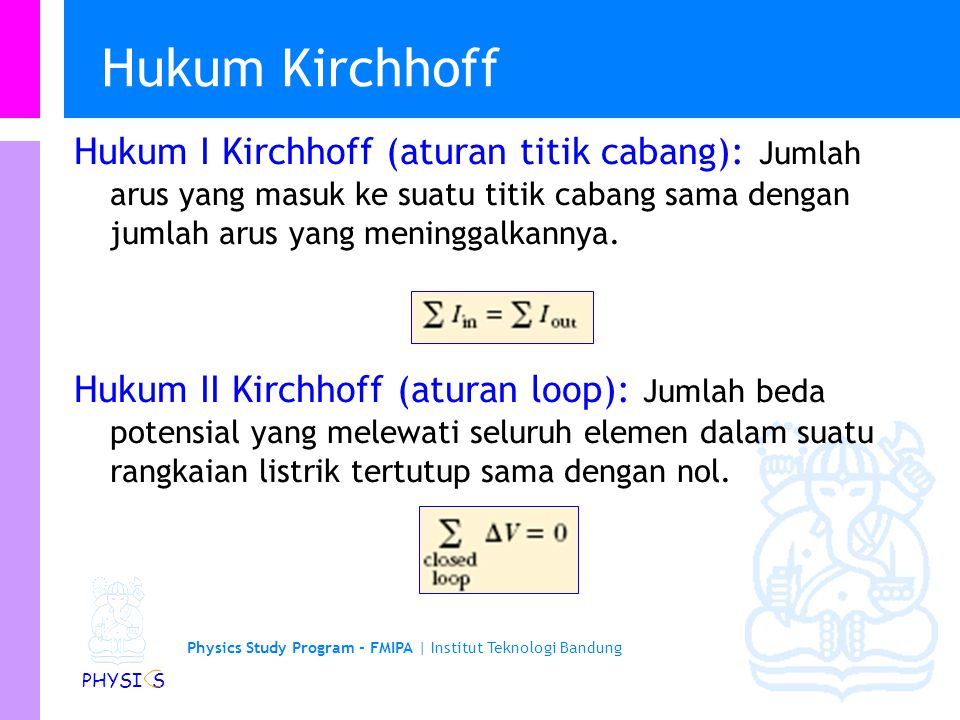 Hukum Kirchhoff Hukum I Kirchhoff (aturan titik cabang): Jumlah arus yang masuk ke suatu titik cabang sama dengan jumlah arus yang meninggalkannya.
