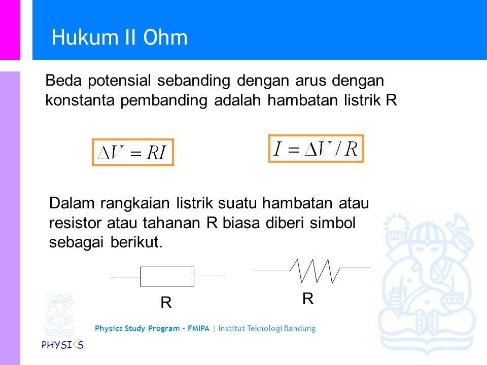 Hukum II Ohm Beda potensial sebanding dengan arus dengan konstanta pembanding adalah hambatan listrik R.