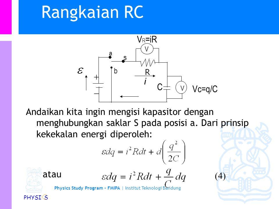 Rangkaian RC VR=iR + - i C Vc=q/C
