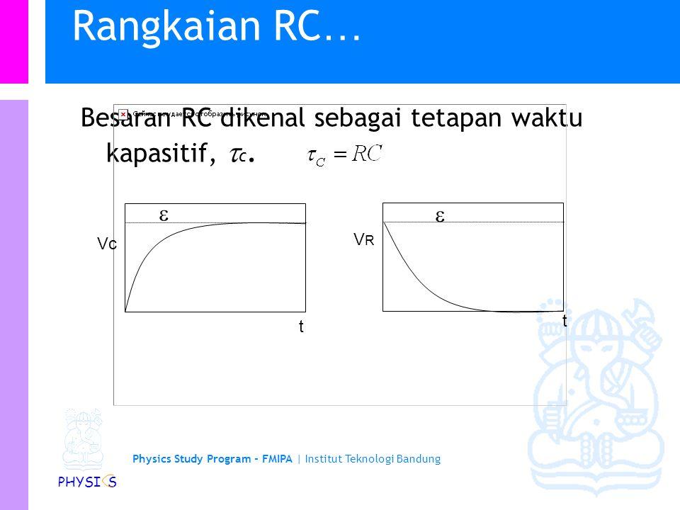 Rangkaian RC… Besaran RC dikenal sebagai tetapan waktu kapasitif, c.