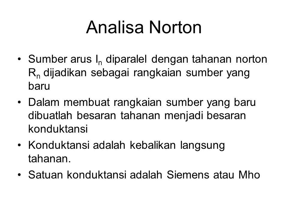 Analisa Norton Sumber arus In diparalel dengan tahanan norton Rn dijadikan sebagai rangkaian sumber yang baru.