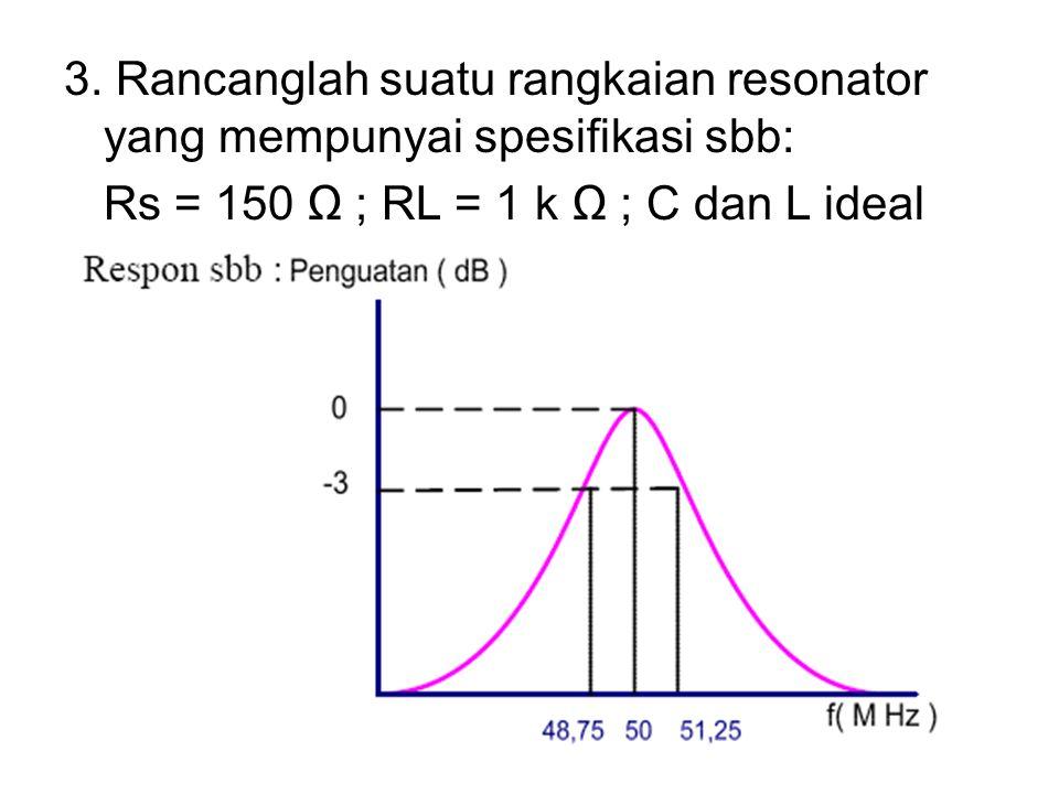 3. Rancanglah suatu rangkaian resonator yang mempunyai spesifikasi sbb: