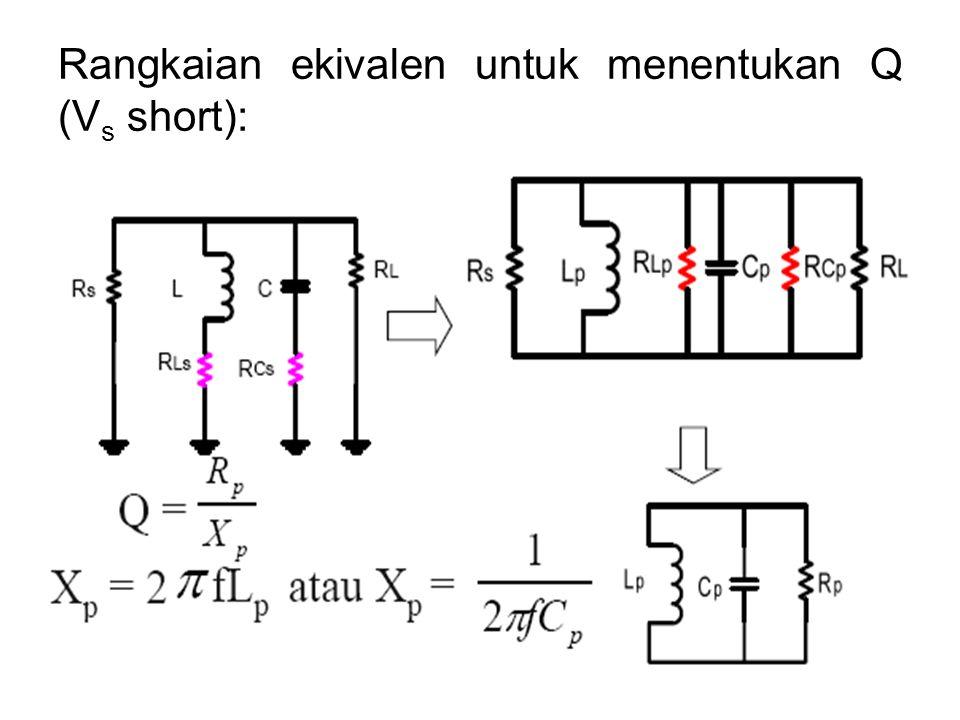 Rangkaian ekivalen untuk menentukan Q (Vs short):