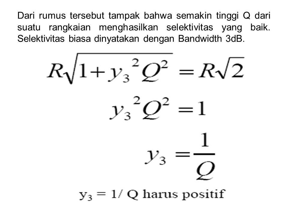 Dari rumus tersebut tampak bahwa semakin tinggi Q dari suatu rangkaian menghasilkan selektivitas yang baik.