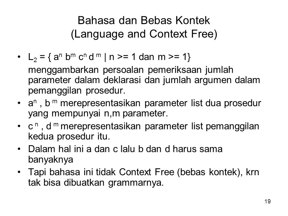 Bahasa dan Bebas Kontek (Language and Context Free)