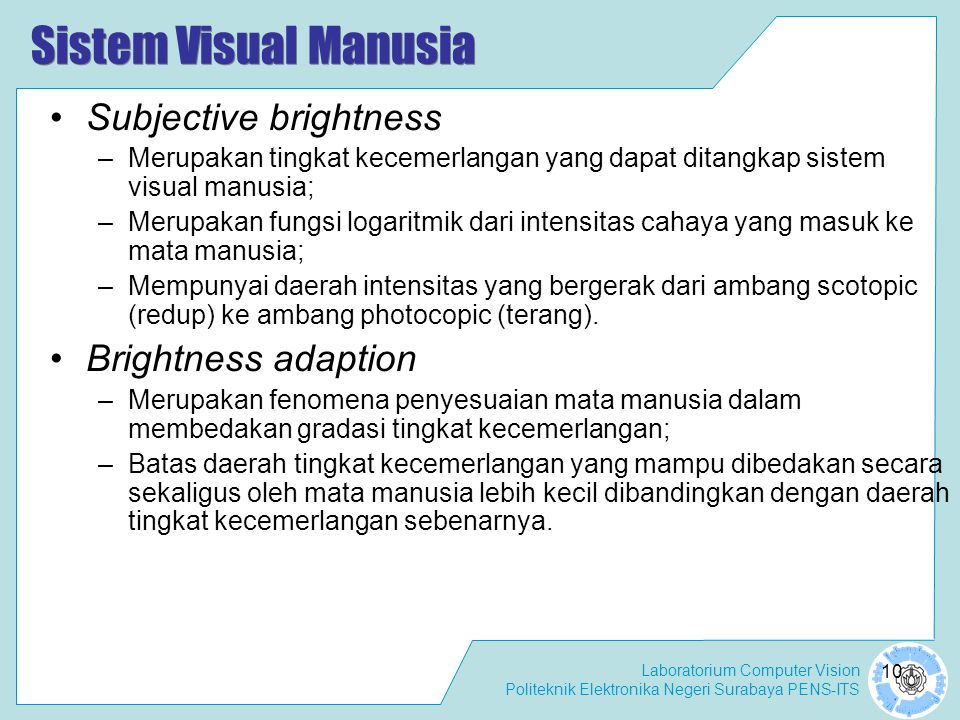 Sistem Visual Manusia Subjective brightness Brightness adaption