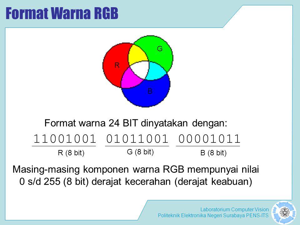 Format Warna RGB R. G. B. Format warna 24 BIT dinyatakan dengan: 11001001 01011001 00001011. R (8 bit)