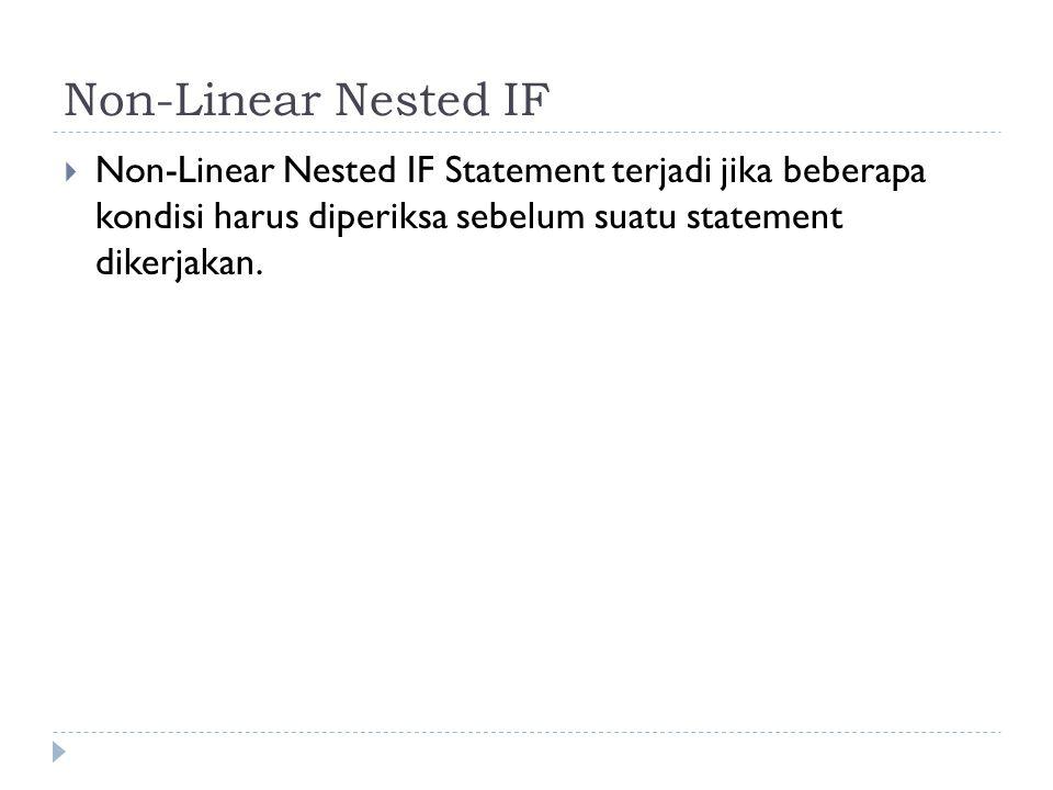 Non-Linear Nested IF Non-Linear Nested IF Statement terjadi jika beberapa kondisi harus diperiksa sebelum suatu statement dikerjakan.