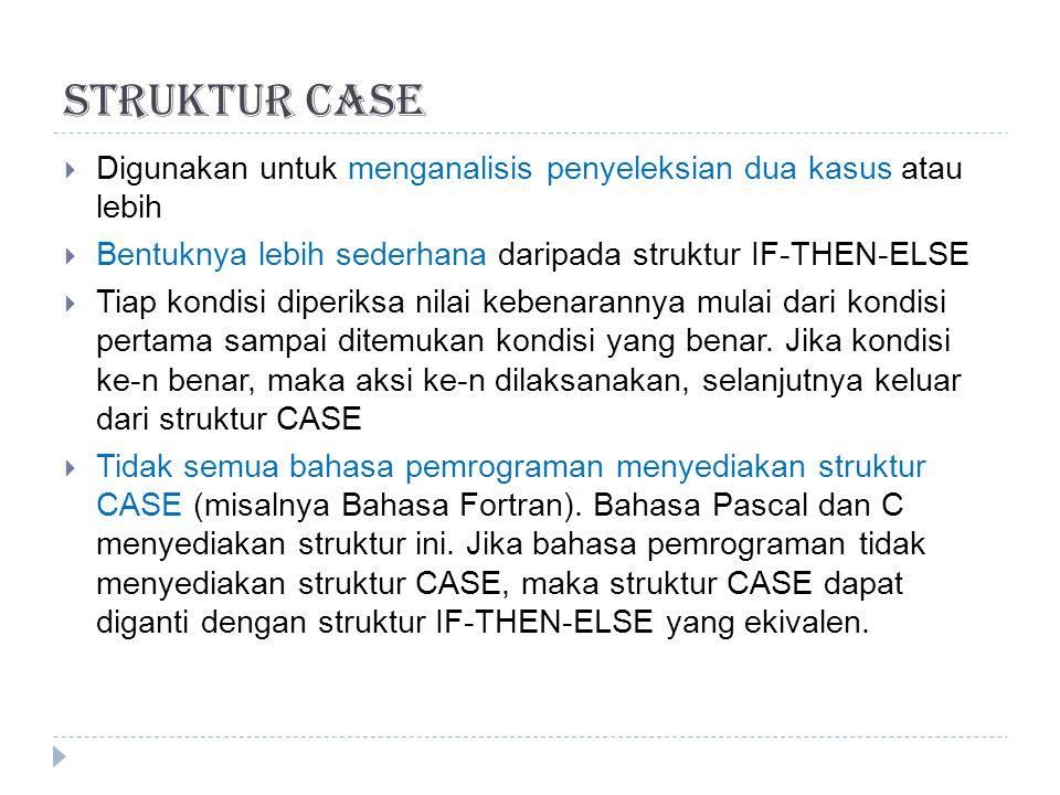 Struktur Case Digunakan untuk menganalisis penyeleksian dua kasus atau lebih. Bentuknya lebih sederhana daripada struktur IF-THEN-ELSE.