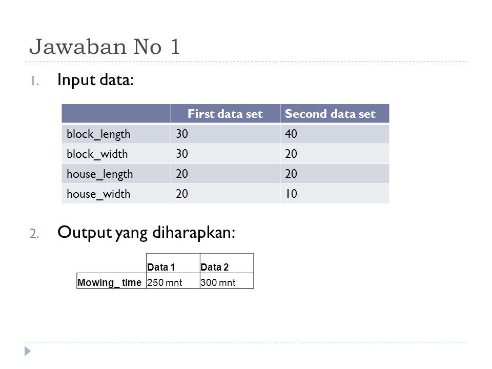 Jawaban No 1 Input data: Output yang diharapkan: First data set