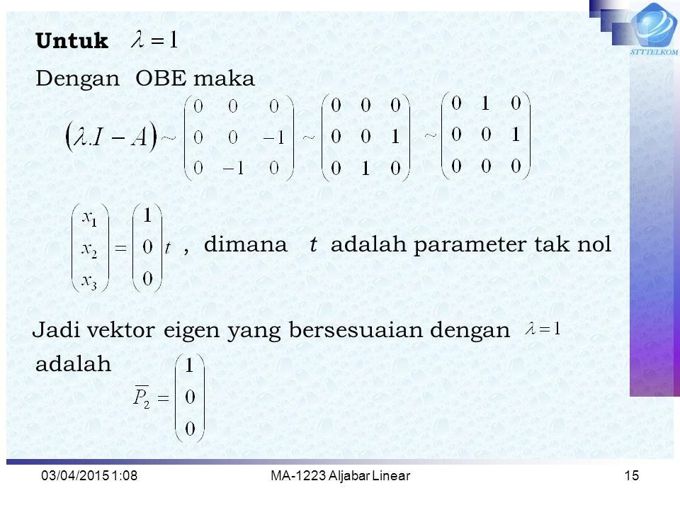 , dimana t adalah parameter tak nol