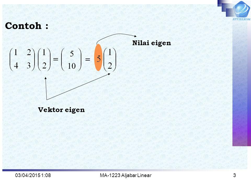 Contoh : 5 10 Nilai eigen Vektor eigen 09/04/2017 7:59