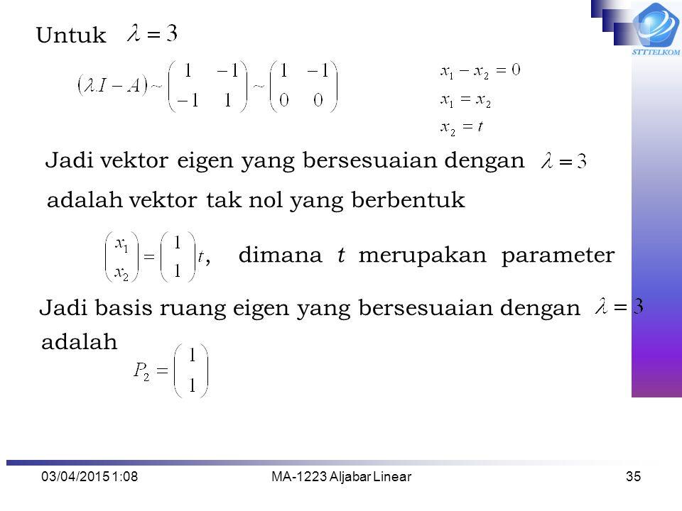 Jadi vektor eigen yang bersesuaian dengan