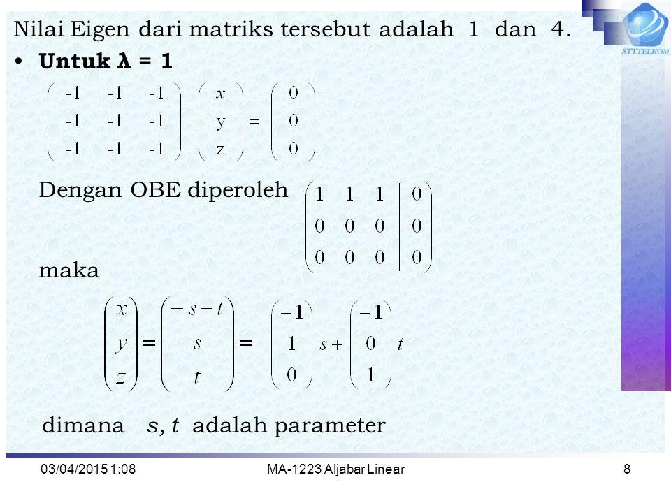 Nilai Eigen dari matriks tersebut adalah 1 dan 4. Untuk λ = 1