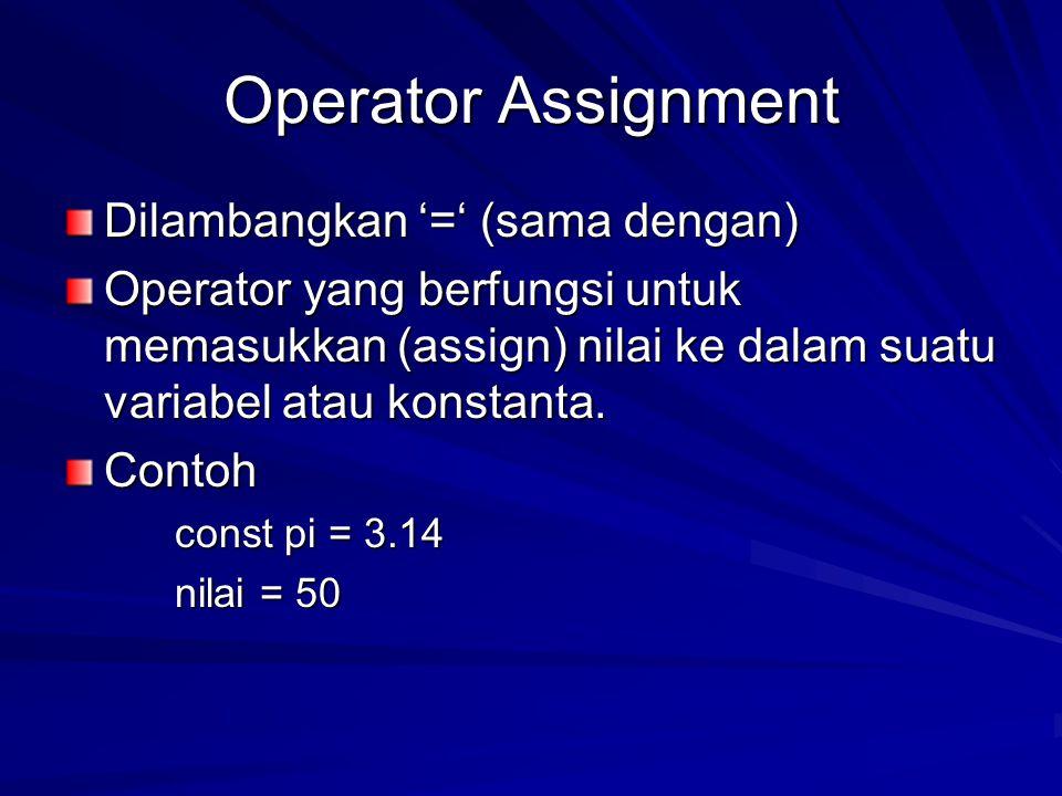 Operator Assignment Dilambangkan '=' (sama dengan)