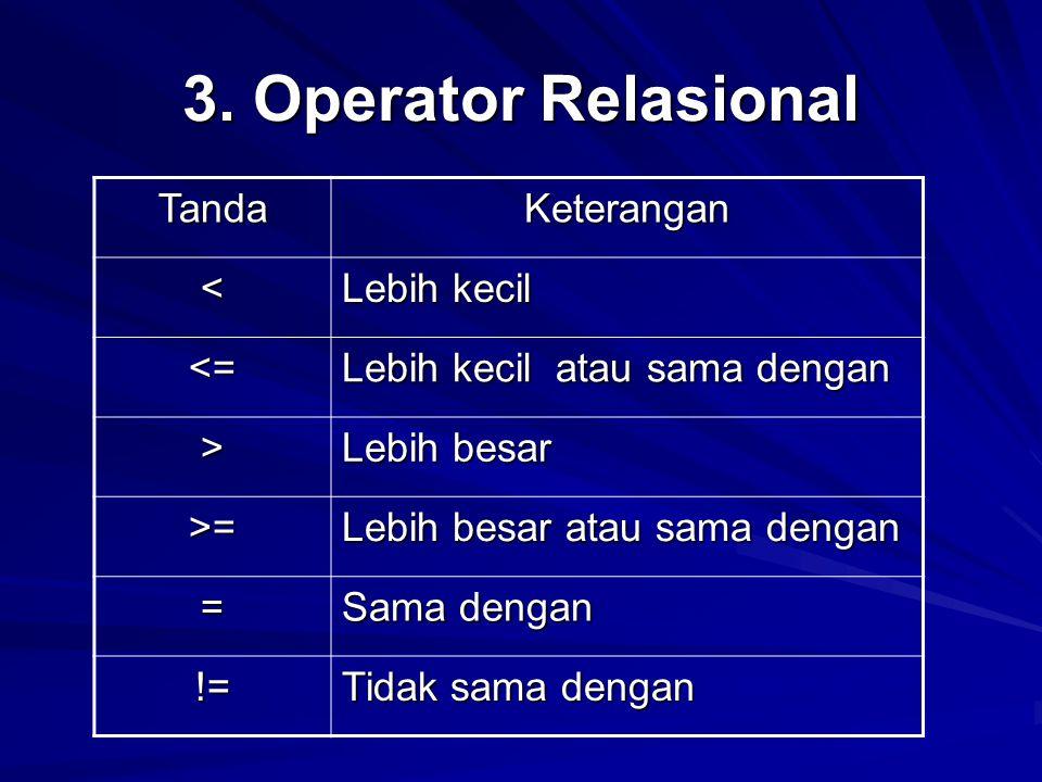 3. Operator Relasional Tanda Keterangan < Lebih kecil <=
