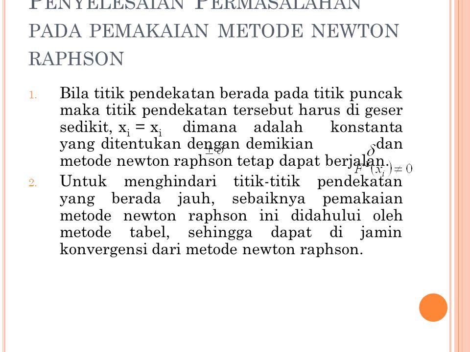 Penyelesaian Permasalahan pada pemakaian metode newton raphson