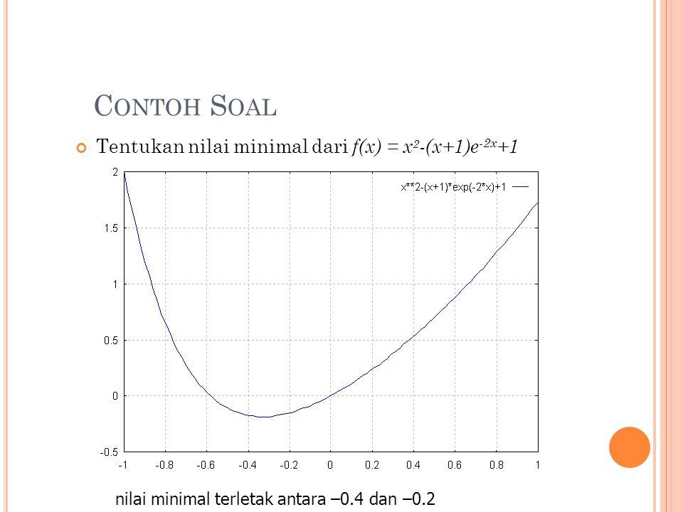 Contoh Soal Tentukan nilai minimal dari f(x) = x2-(x+1)e-2x+1