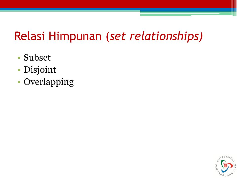 Relasi Himpunan (set relationships)