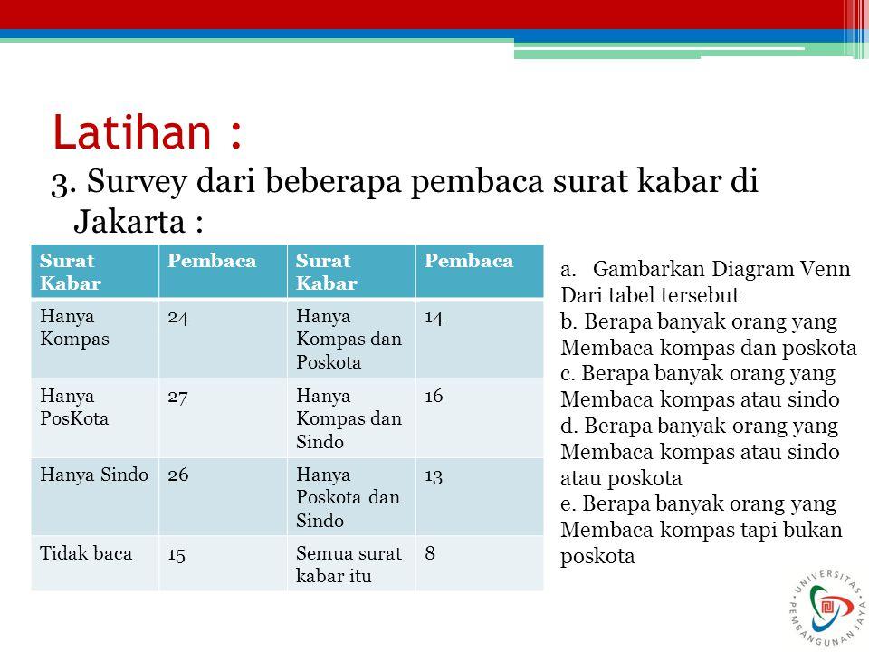 Latihan : 3. Survey dari beberapa pembaca surat kabar di Jakarta :