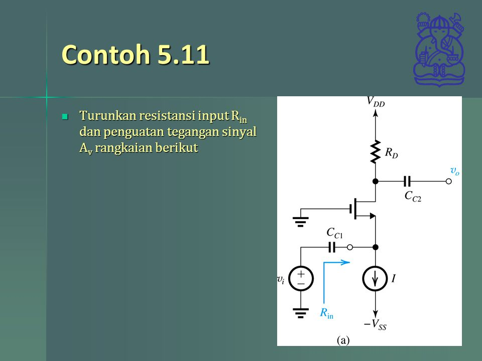 Contoh 5.11 Turunkan resistansi input Rin dan penguatan tegangan sinyal Av rangkaian berikut
