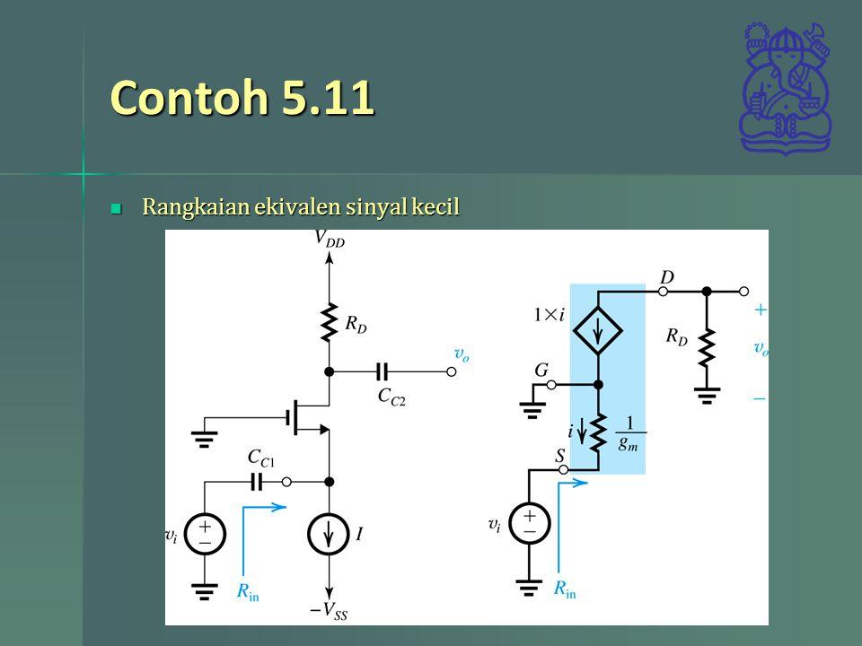 Contoh 5.11 Rangkaian ekivalen sinyal kecil