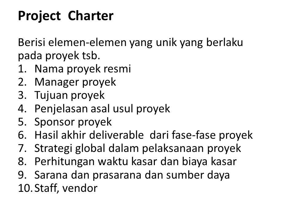 Project Charter Berisi elemen-elemen yang unik yang berlaku