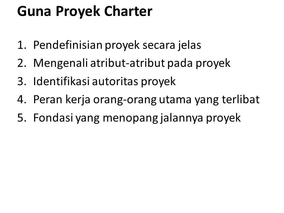 Guna Proyek Charter Pendefinisian proyek secara jelas