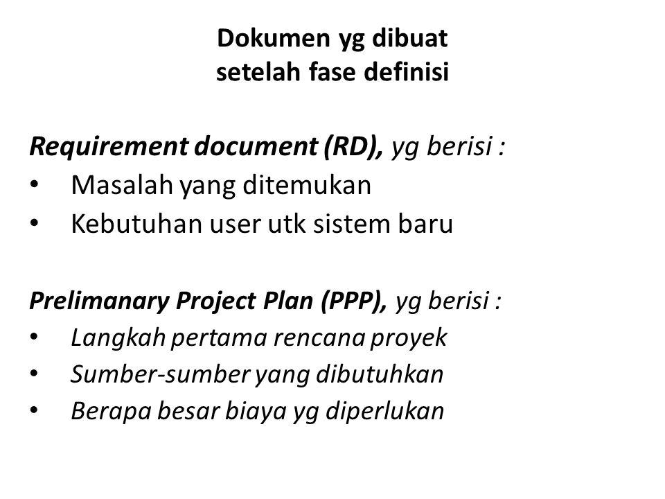 Dokumen yg dibuat setelah fase definisi