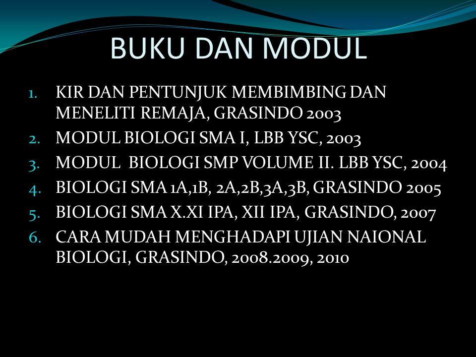 BUKU DAN MODUL KIR DAN PENTUNJUK MEMBIMBING DAN MENELITI REMAJA, GRASINDO 2003. MODUL BIOLOGI SMA I, LBB YSC, 2003.