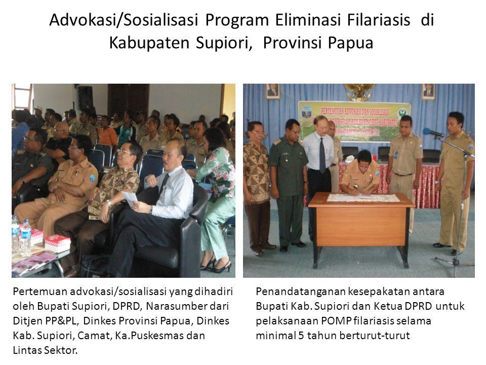 Advokasi/Sosialisasi Program Eliminasi Filariasis di Kabupaten Supiori, Provinsi Papua
