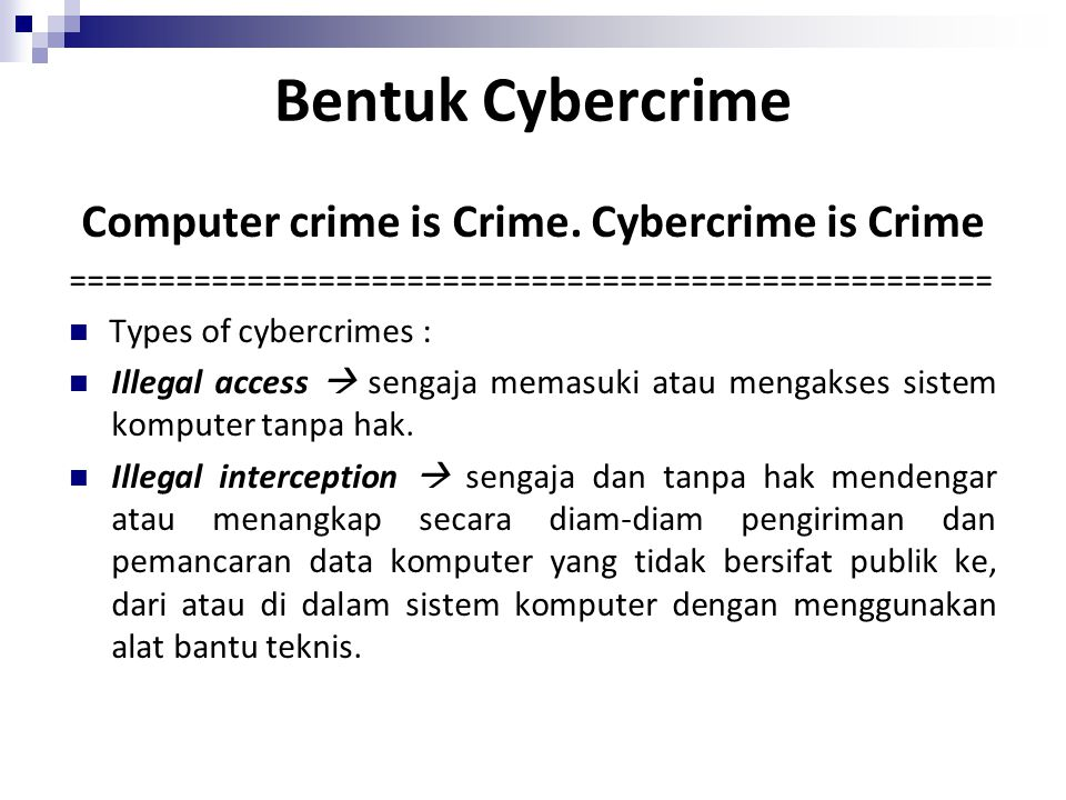 Computer crime is Crime. Cybercrime is Crime