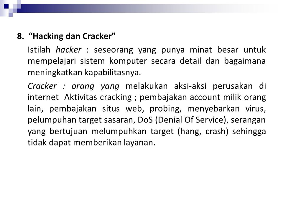 8. Hacking dan Cracker