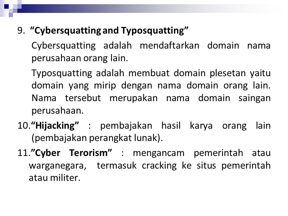 9. Cybersquatting and Typosquatting