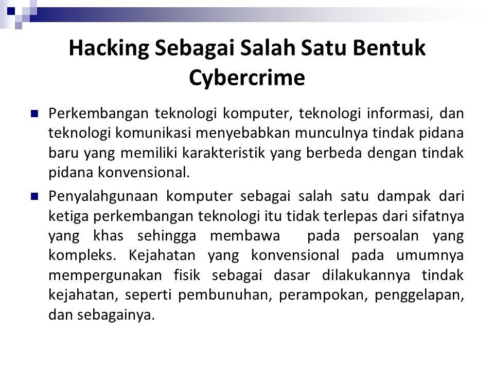 Hacking Sebagai Salah Satu Bentuk Cybercrime
