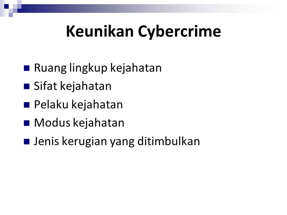 Keunikan Cybercrime Ruang lingkup kejahatan Sifat kejahatan