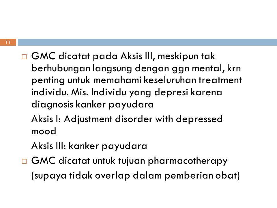 GMC dicatat pada Aksis III, meskipun tak berhubungan langsung dengan ggn mental, krn penting untuk memahami keseluruhan treatment individu. Mis. Individu yang depresi karena diagnosis kanker payudara