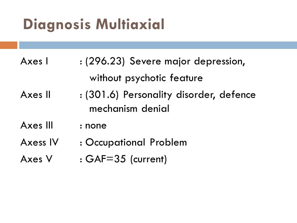 Diagnosis Multiaxial Axes I : (296.23) Severe major depression,