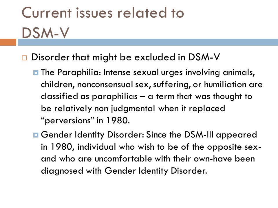 Current issues related to DSM-V