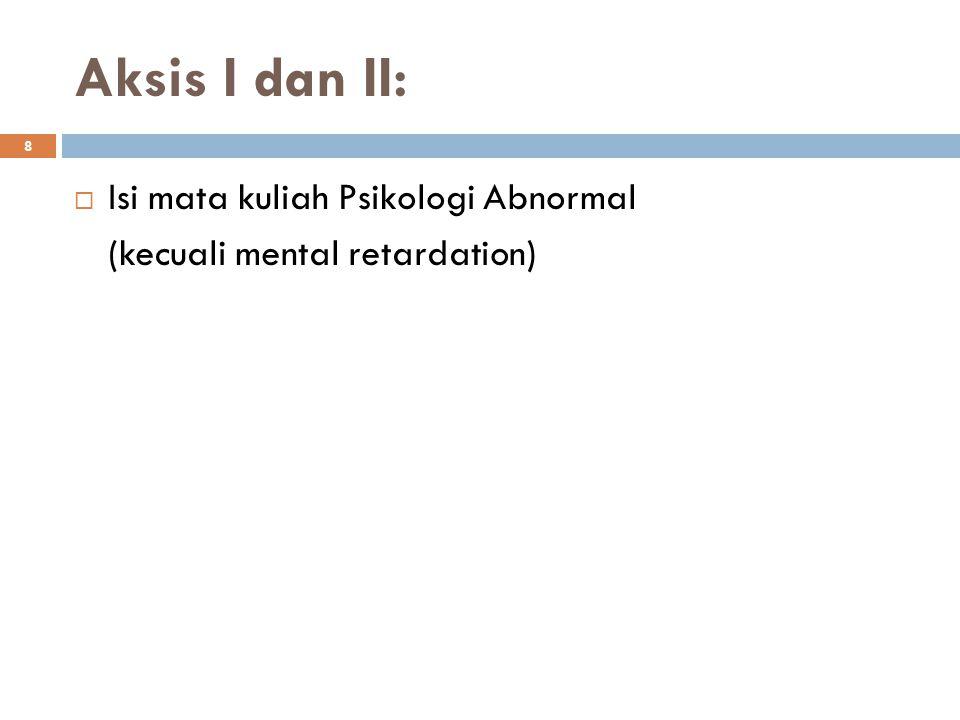 Aksis I dan II: Isi mata kuliah Psikologi Abnormal
