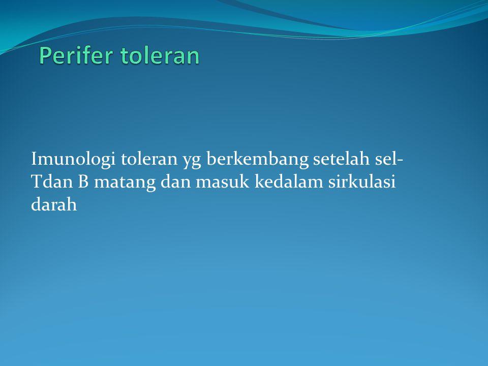 Perifer toleran Imunologi toleran yg berkembang setelah sel-Tdan B matang dan masuk kedalam sirkulasi darah.