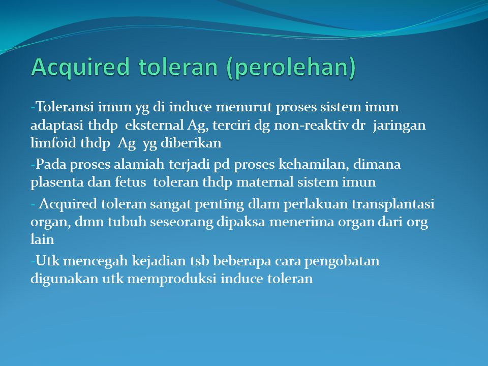 Acquired toleran (perolehan)